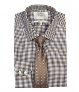 Men's BROWN & BEIGE MULTI CHECK EXTRA SLIM FIT SHIRT
