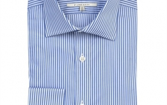 Men's WHITE & BLUE STRIPE SLIM FIT BUSINESS SHIRT  - 2